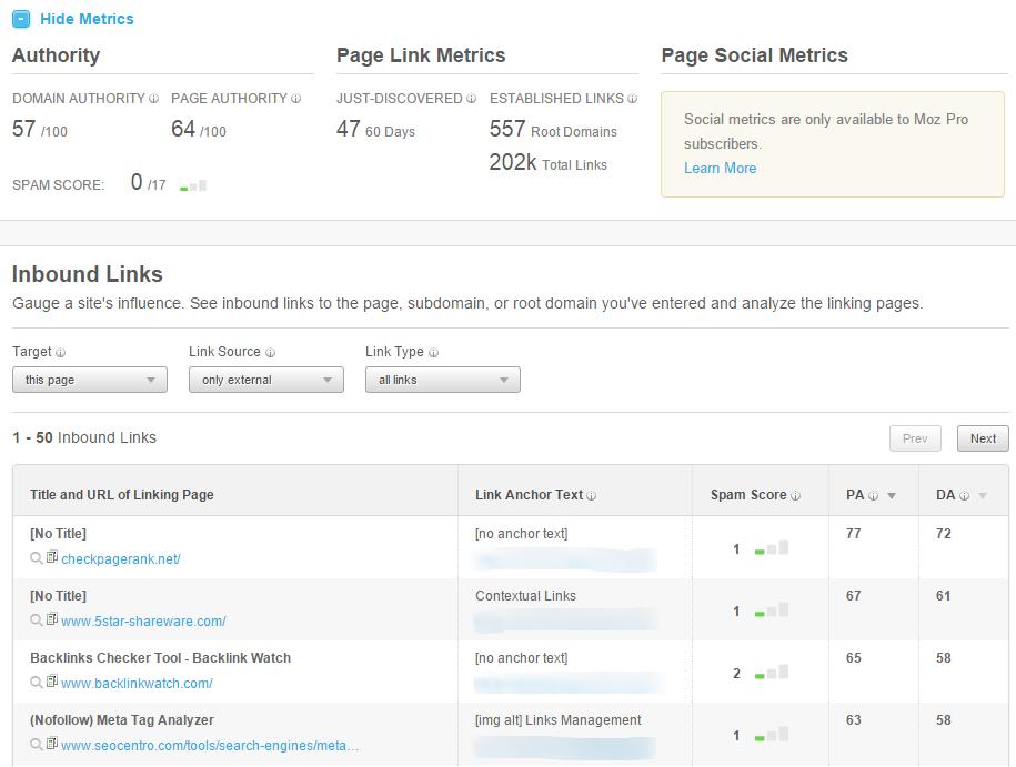 Open Site Explorer for backlinks tracking