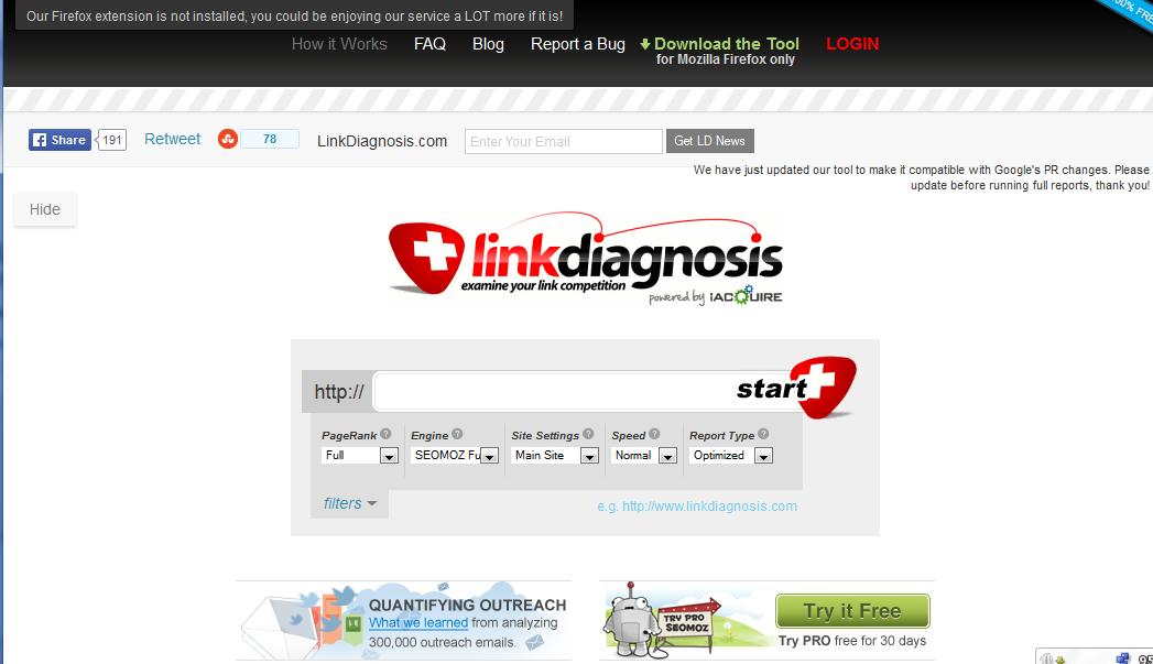 Link Diagnosis tool