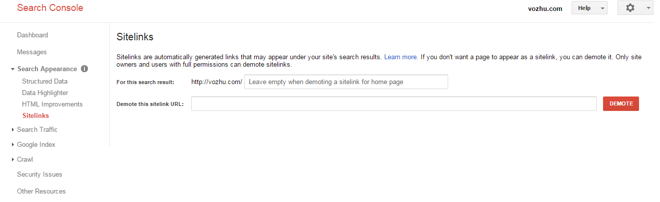 Sitelinks in Google Search Console