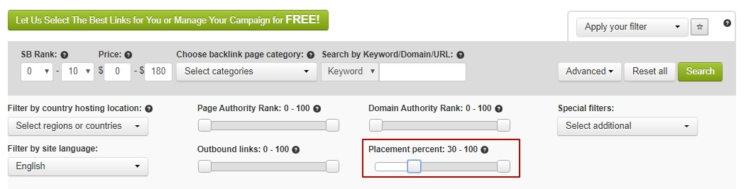 Search by placement percent