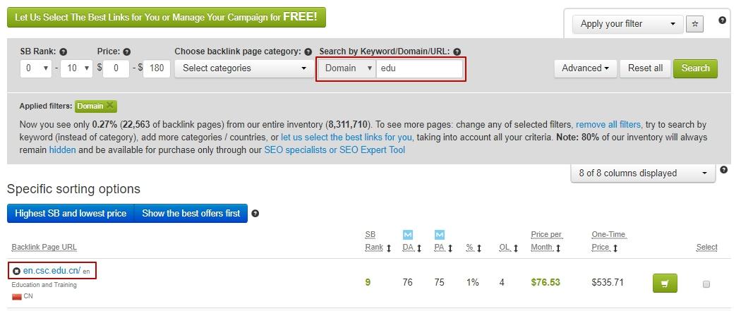 Search by edu, gov domain