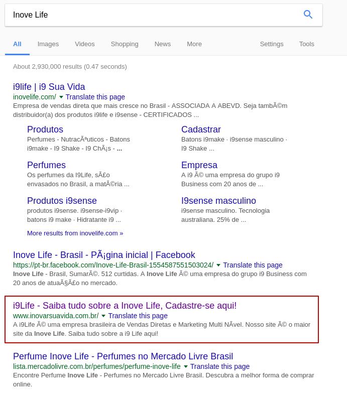 www.inovarsuavida.com.br in www.google.com.br top