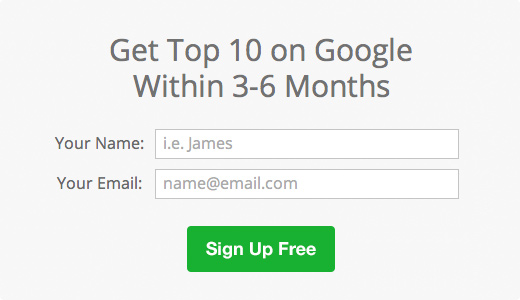 Sign Up to Get Top 10 on Google Within 3-6 Months