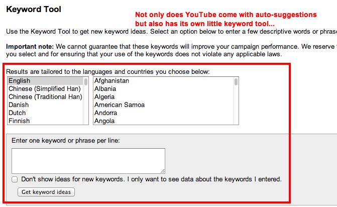 YouTube Keyword Tool.