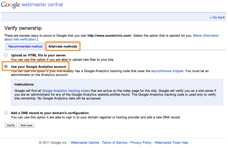 Alternate methods of verification in Google Webmaster Tools (Search Console)