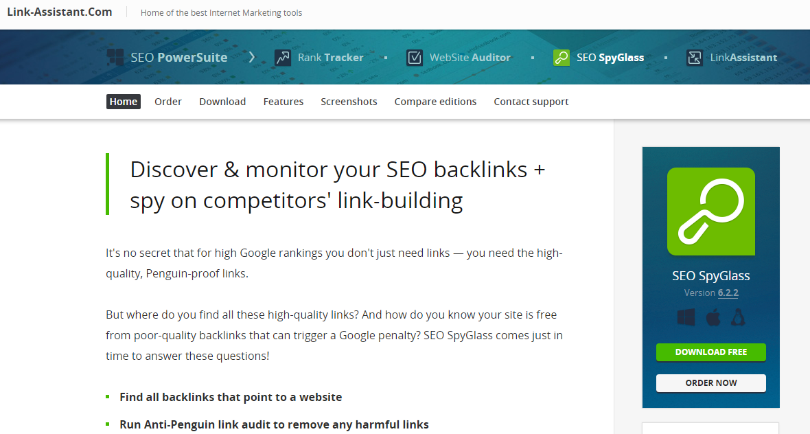 SEO SpyGlass tool for link promotion