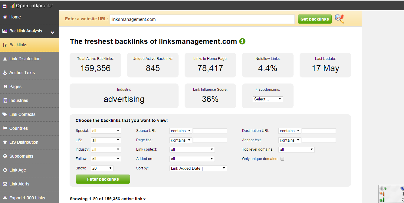 OpenLinkProfiler backlinks checker