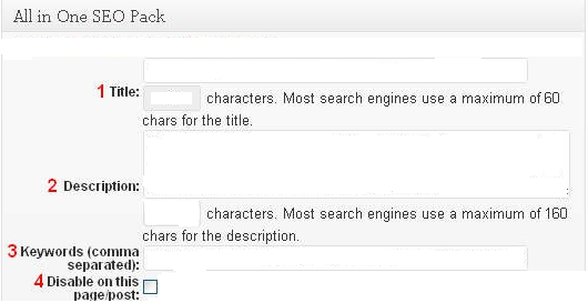 All in One SEO Pack - meta tags editing