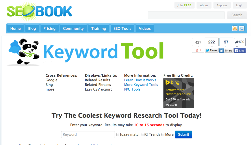 SEO Book Keyword research tool