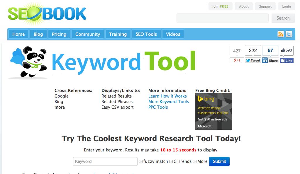 SEO Book Keyword research tool