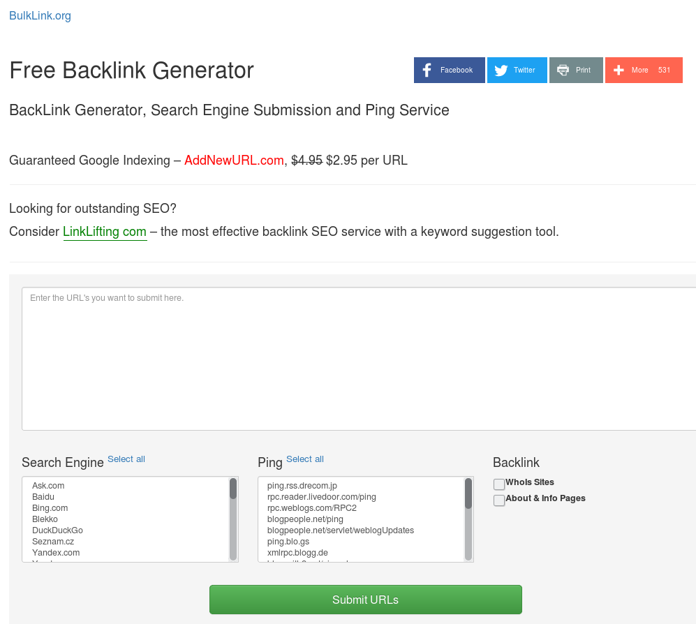 BulkLink org Free BackLink Generator, Pinger and Submission Service