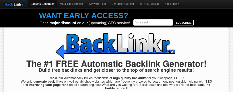 FREE Automatic Backlink Generator BackLinkr