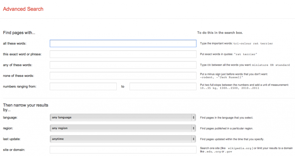 Google Advanced Search page
