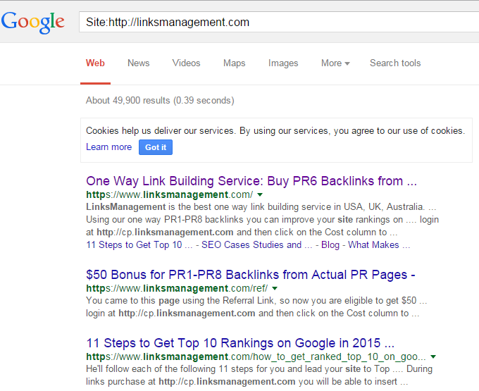 ... site pages indexed by the search robot: Search by special request