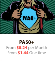 PA50+ From $0.24 per Month From $1.44 One time