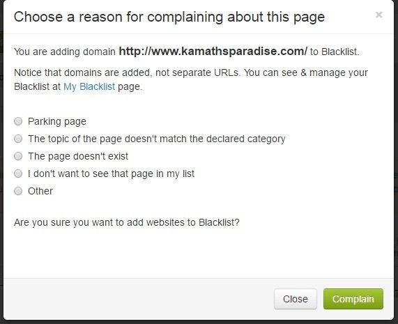 Reason of blacklist