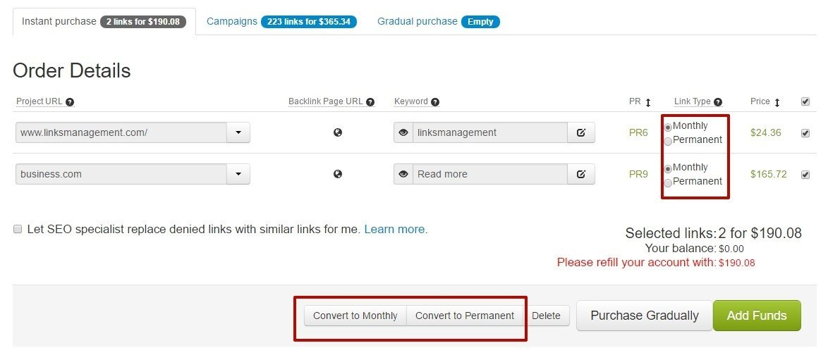 Convert links from monthly to permanent