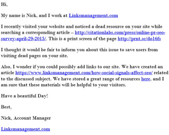 Broken link building letter example
