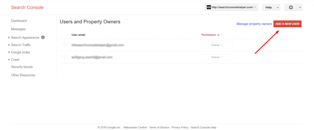 Search Console Adding owners