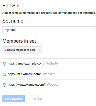 Search Console Linking your websites into sets