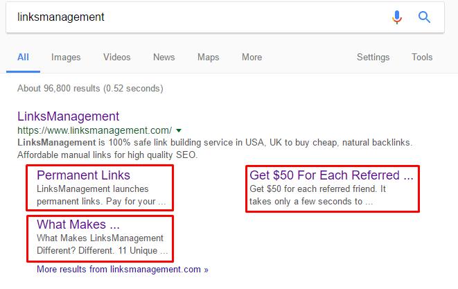 LinksManagement site links