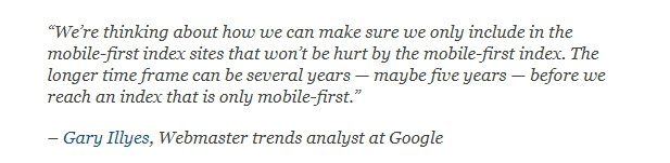 Mobile first index from Google