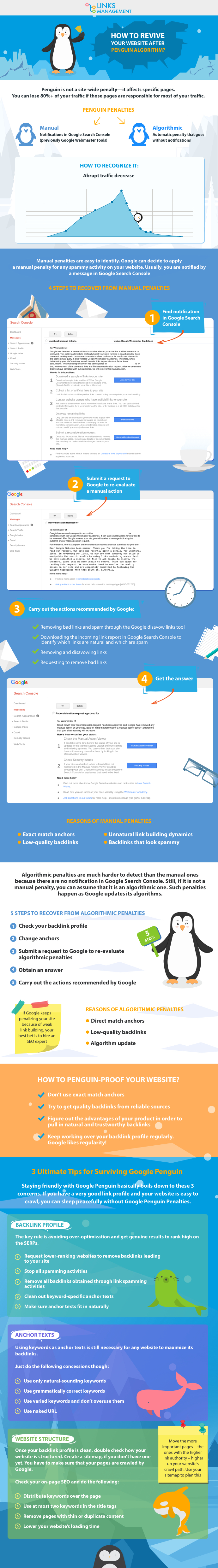 Infographics on how to revive website after Penguin Algorithm