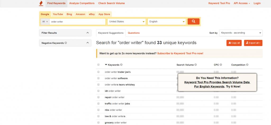 Keywords from keywordtool