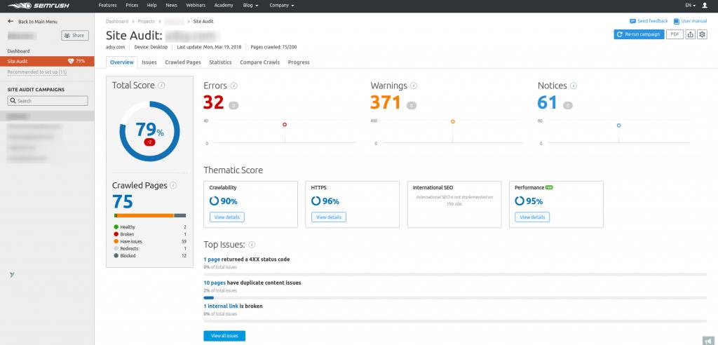 Site audit from SEMrush