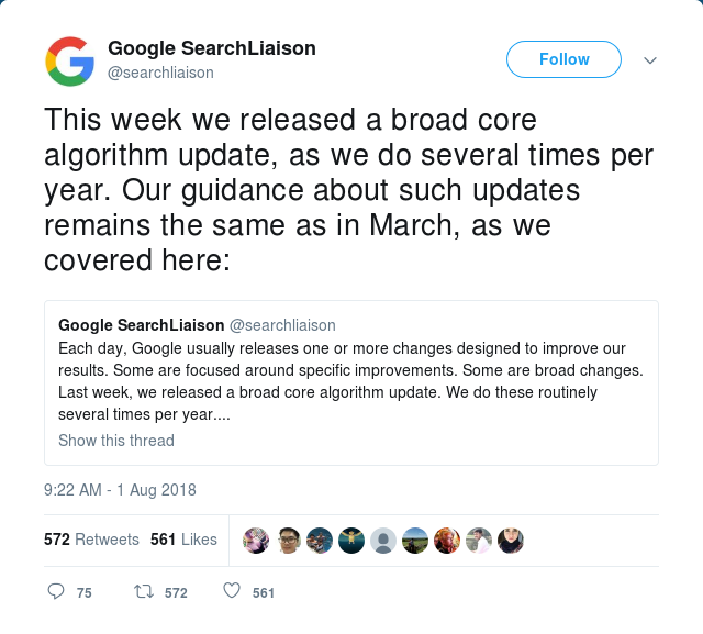 Google's tweet about core algorithm update