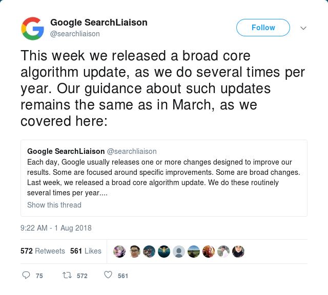 Google's tweet about core algorithm update
