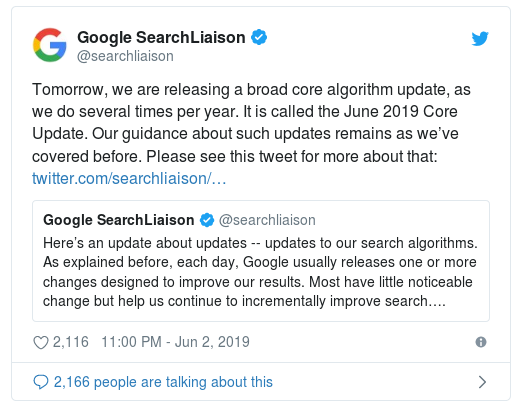 Google's tweet about broad algorithm update