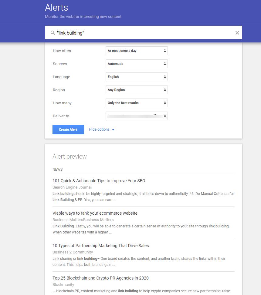 Google alert linkbuilding