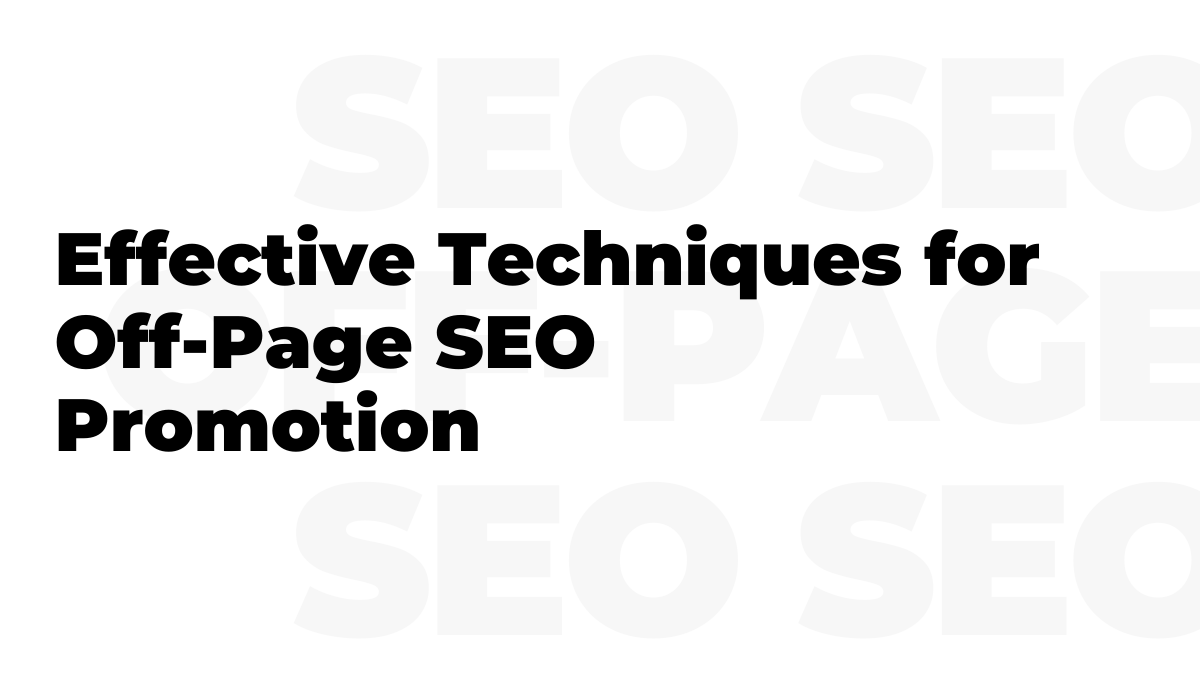 Off-Page SEO Promotion